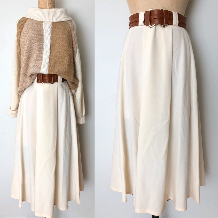 Vintage Cream Wool Lord & Taylor Skirt - 27