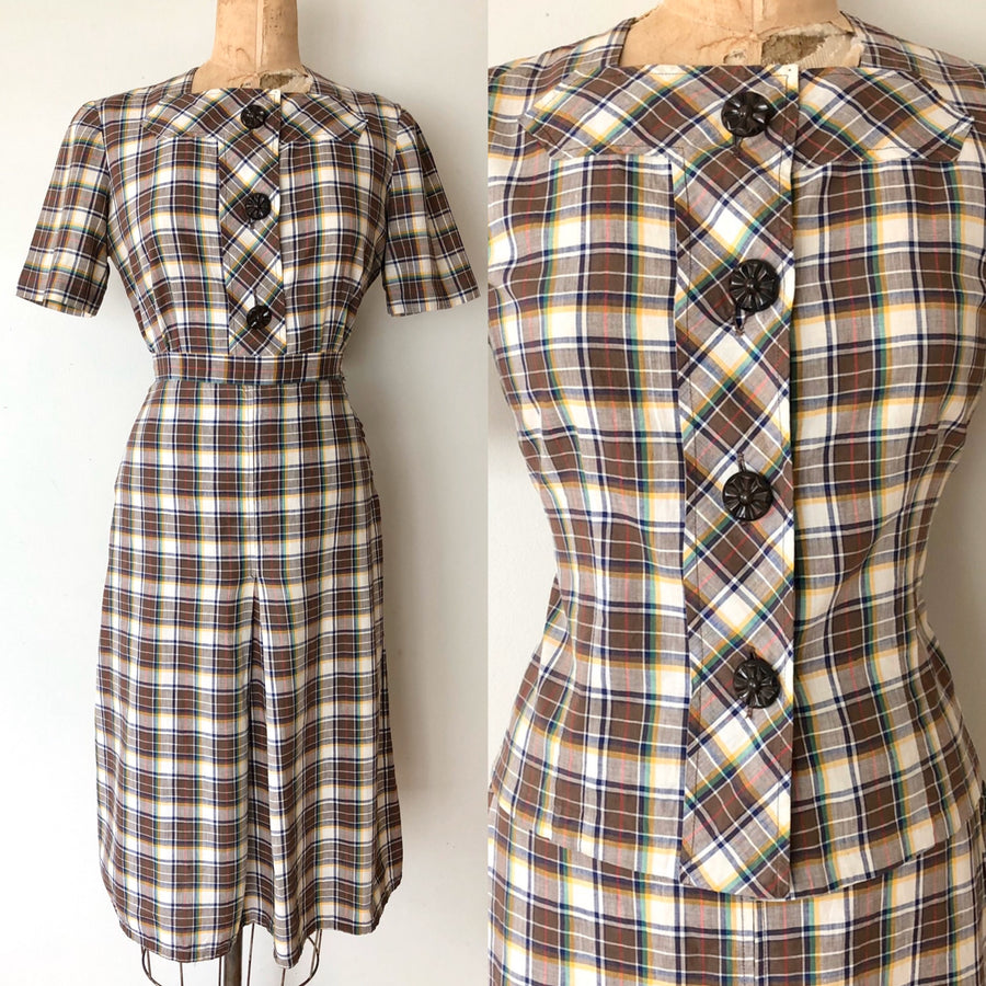 1940's Cotton Plaid Skirt Set - Size M