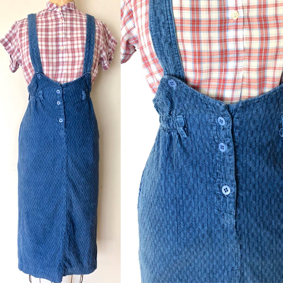 80's Corduroy Pinafore Skirt - Size Small