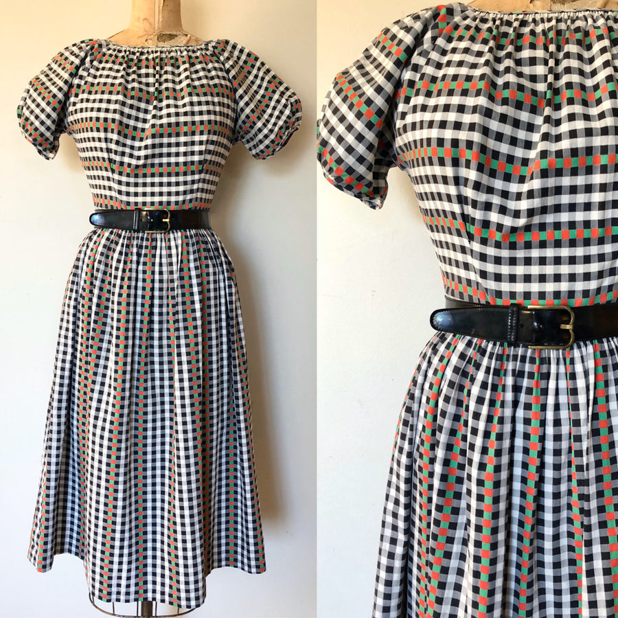 1940's/50's Gingham Checked Dress - Size M - AS IS