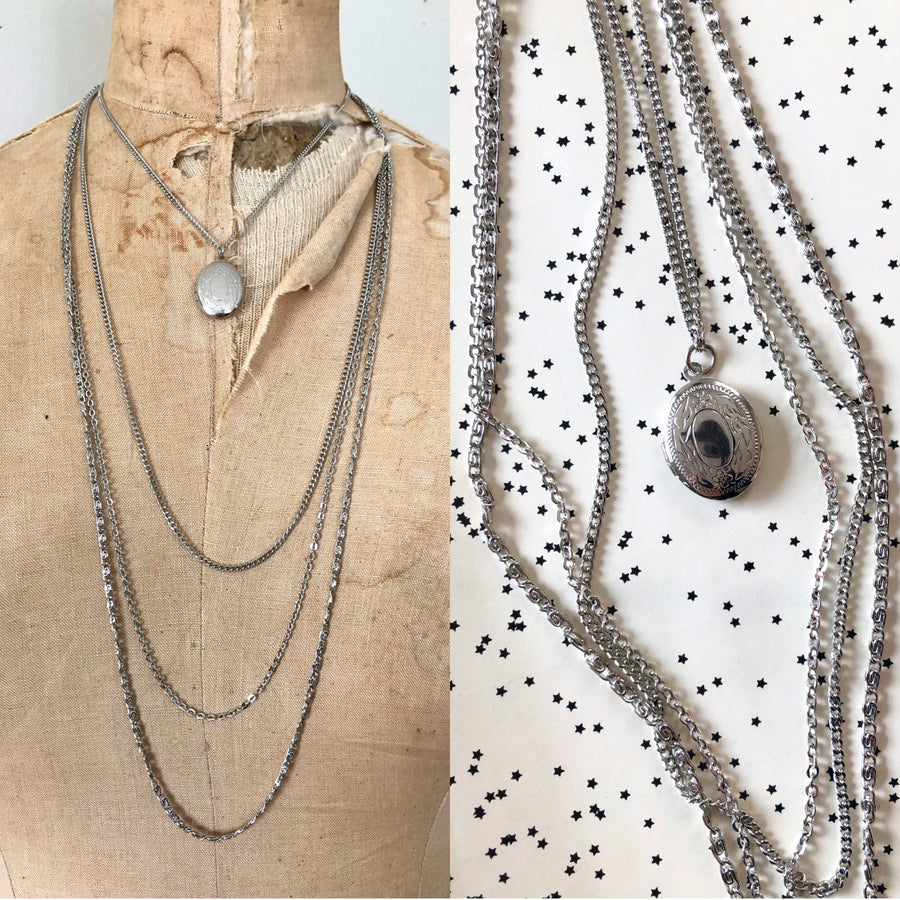 Silver Layered Chain & Locket Necklace