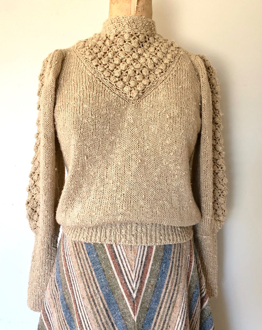80's Tan Puff Shoulder Knit Sweater - Size S/M