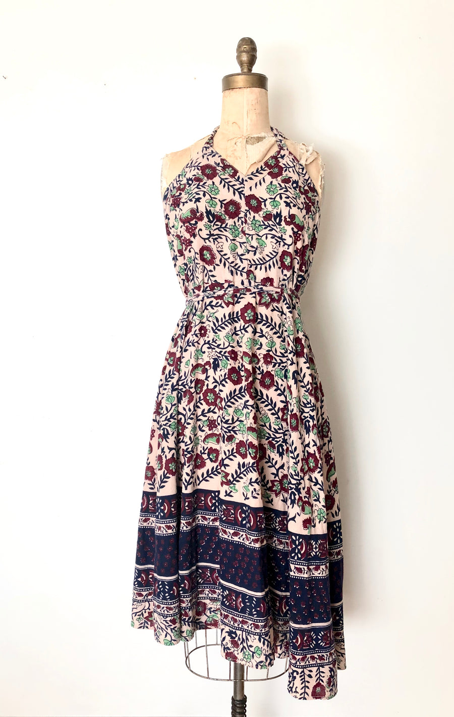 Vintage Indian Cotton Block Print Wrap Dress
