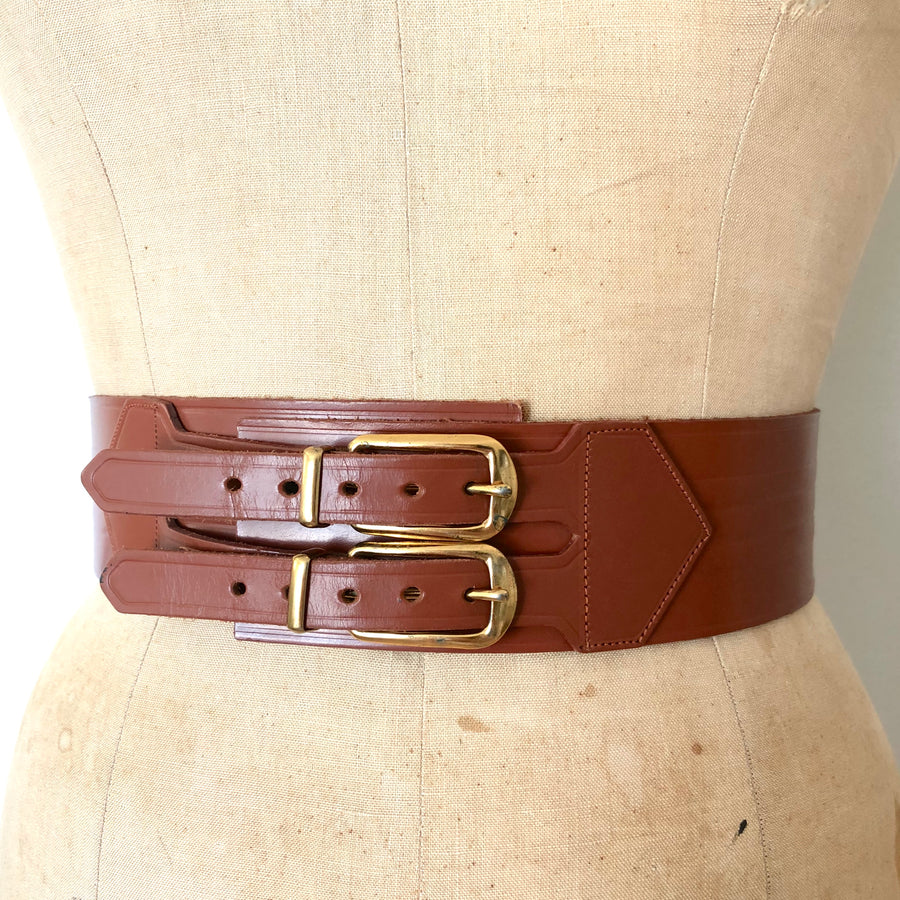 Vintage Double Buckle Leather Cinch Belt