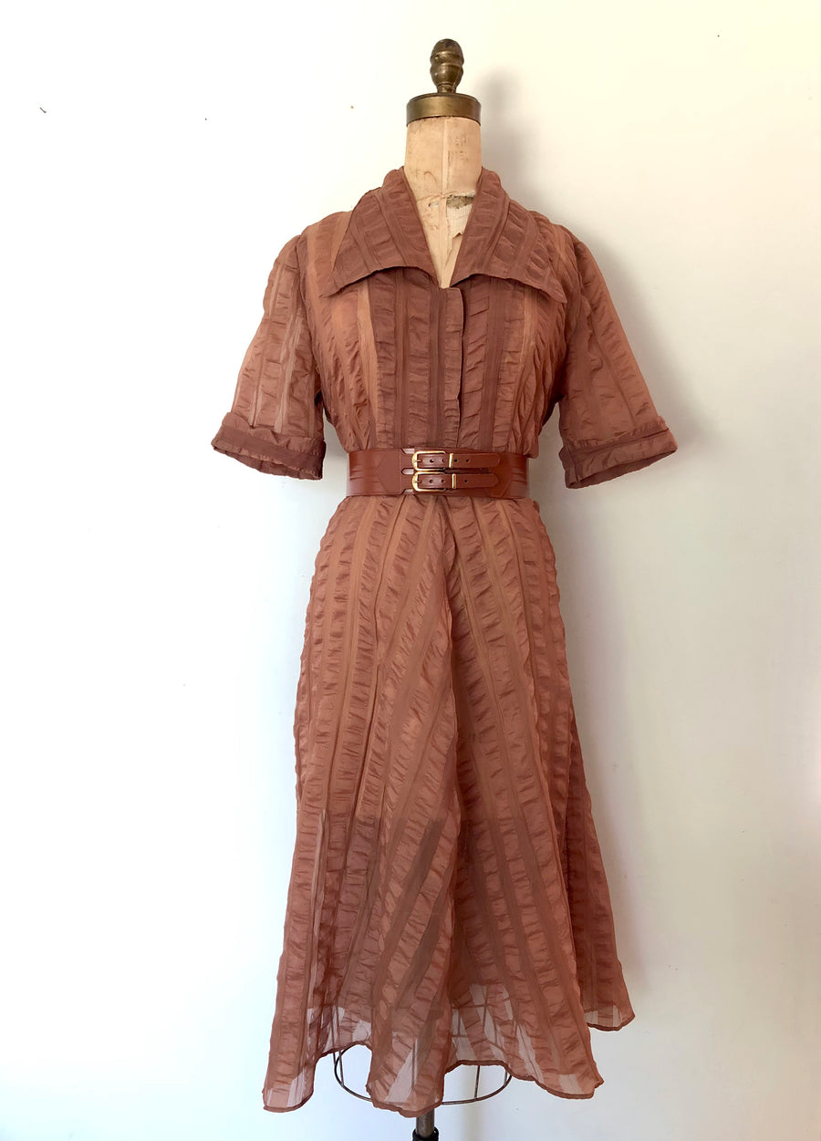 1950's Sheer Brown Striped Dress - Size L/XL