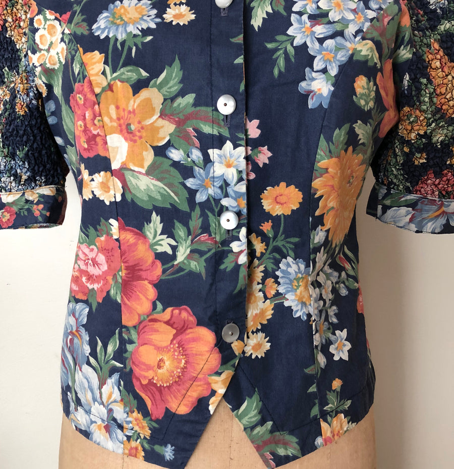 1980's Floral Puff Sleeve Blouse - Size M