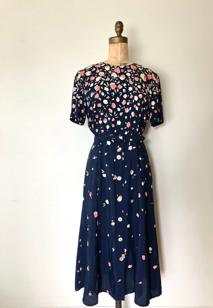 1980's does 1940's Blue Floral Dress - Size Large