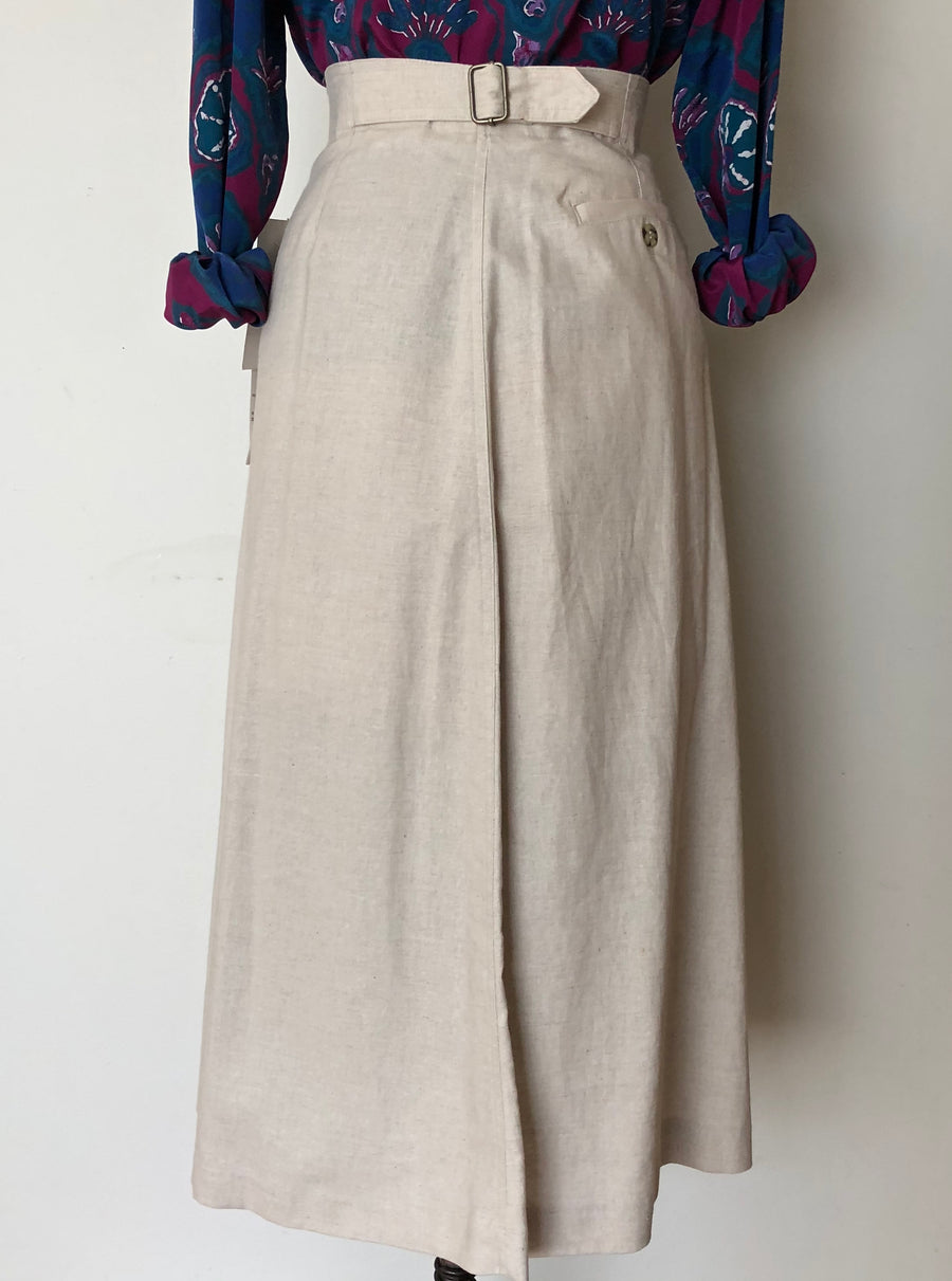 1980's Deadstock Linen Skirt - 32