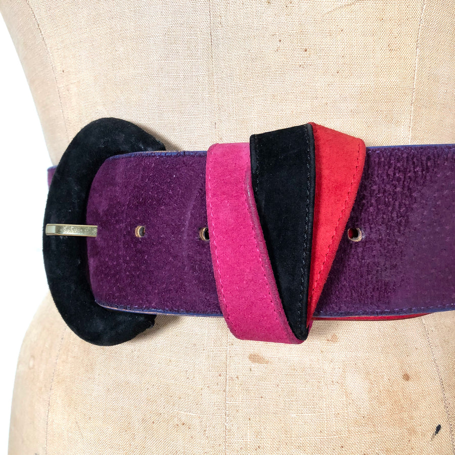 80's Suede Color-Block Belt - 26-30