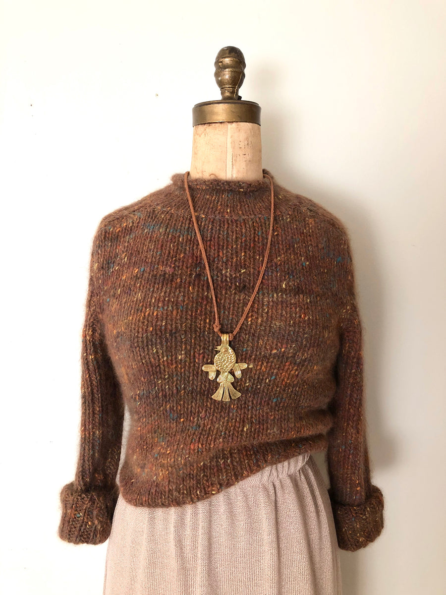 Vintage 80's Speckled Angora Knit Sweater - Size Small