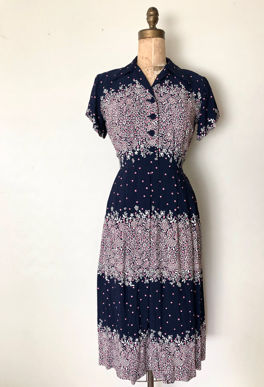 1940's Rayon Floral Dress - 40's Navy & Pink Dress - Size M