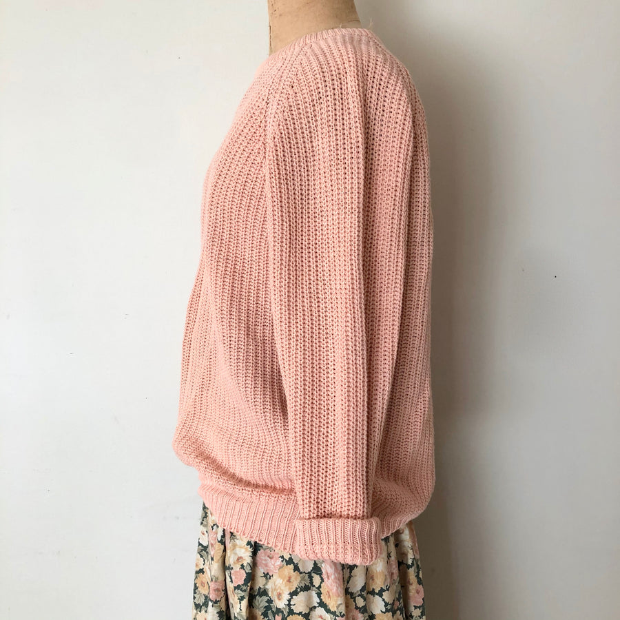 Vintage Peach Knit Sweater - Size S/M