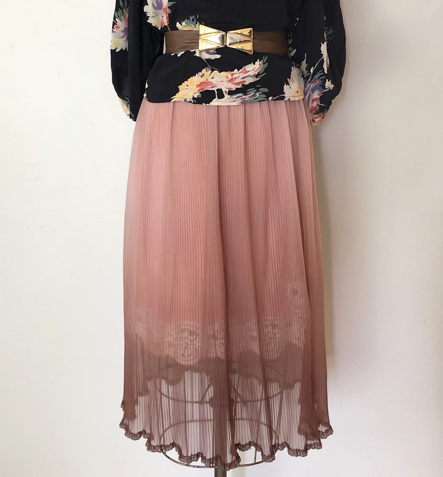 Vintage Sheer Ombre Pleated Slip Skirt - Size M/L