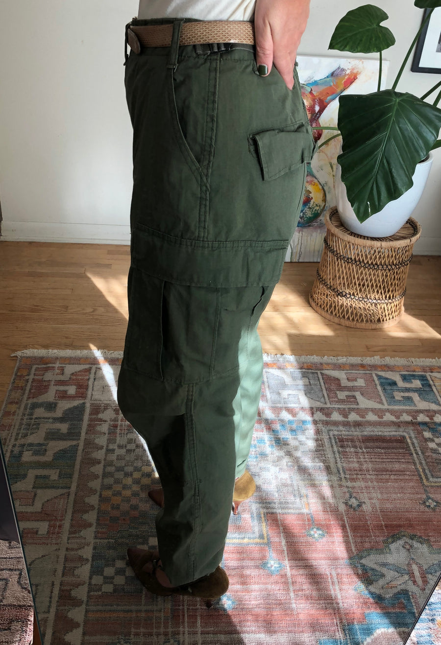 Vintage Olive Green Cargo Fatigue Pants - Waist 27-31