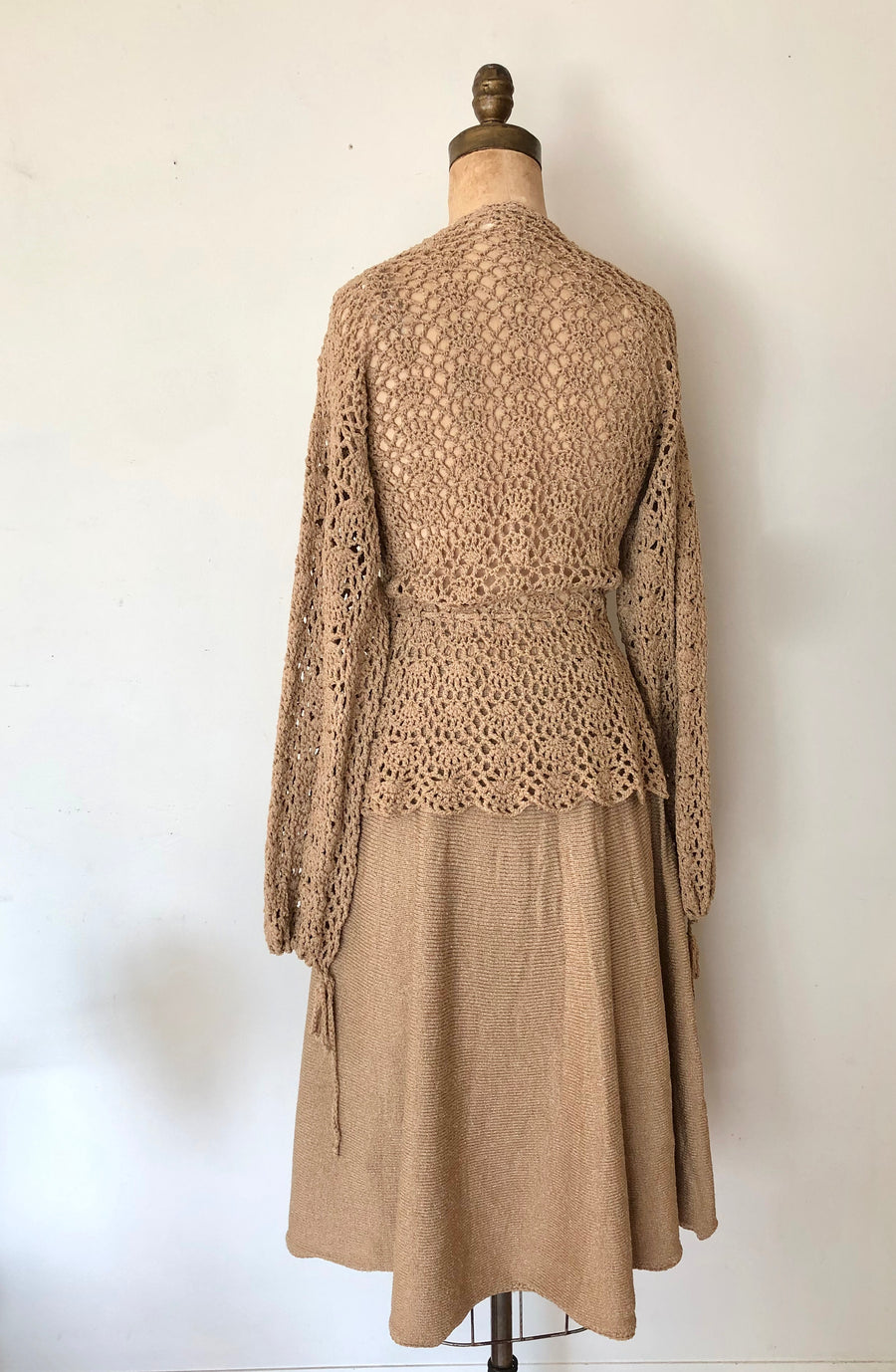 1970's Crochet Sweater & Skirt Set - Size M/L