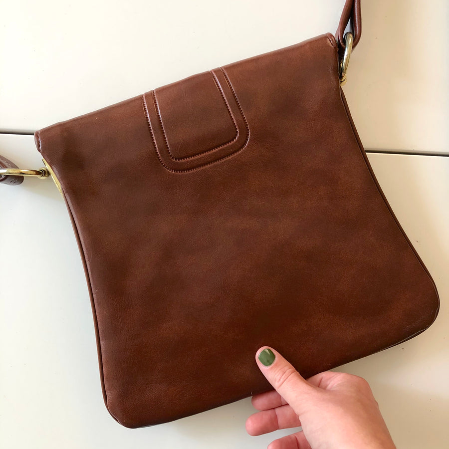 1970's Brown Leather Shoulder Purse