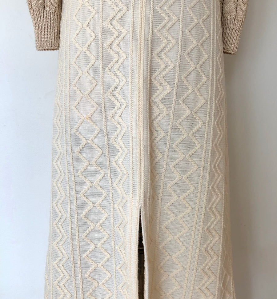 1970's Cream Knit Textured Maxi Skirt - Size M/L