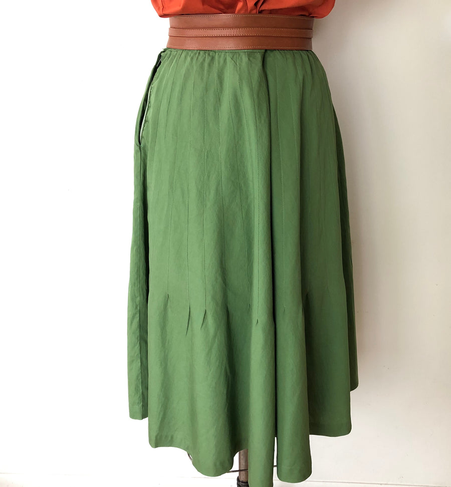 1950's Green Cotton Skirt - 27/28