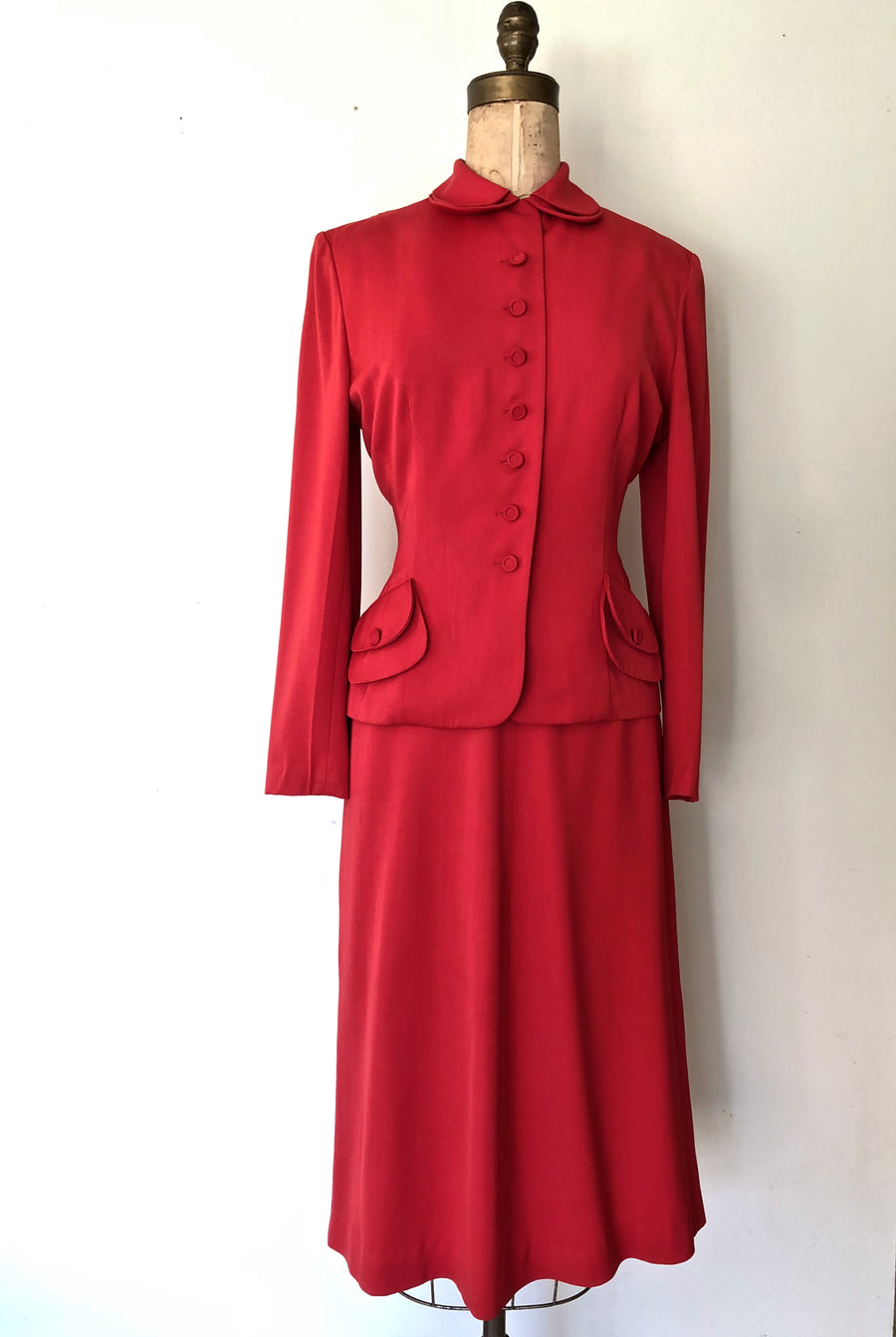 1940's Red Hot Suit - 40's 2 PC Set - Size M