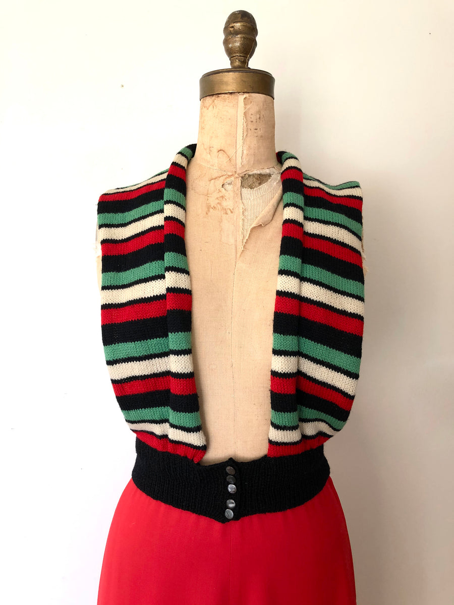 1970's does 40's Striped Sweater Vest - Size S/M