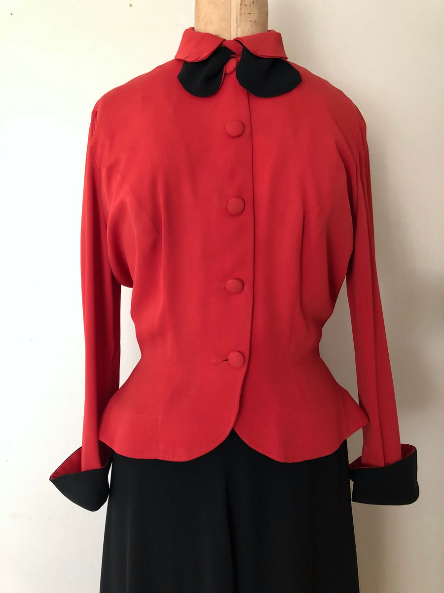 1940's Red & Black Rayon Suit - Size Small