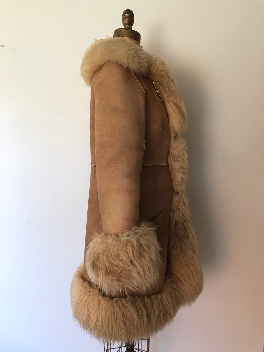 1970's Suede & Shearling Penny Lane Coat - Size M