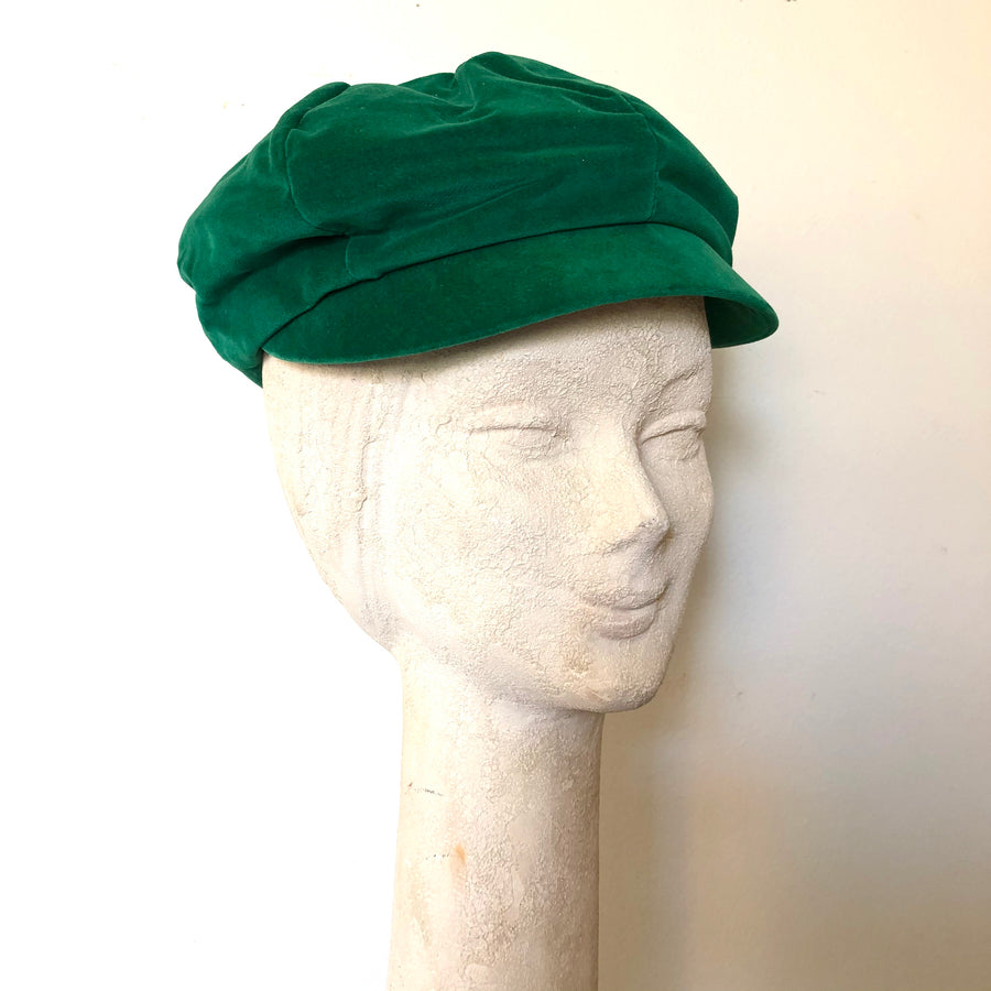 1970's Green Velvet Newsboy Hat