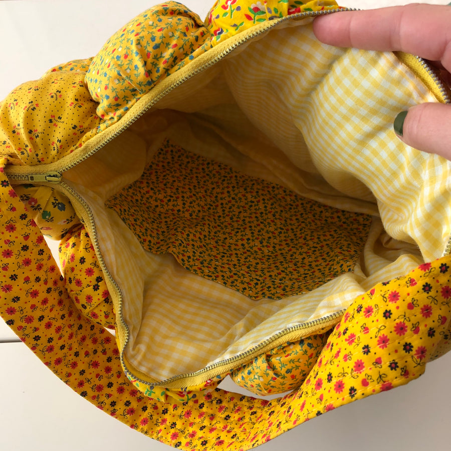 1970's Yellow Floral Fabric Purse
