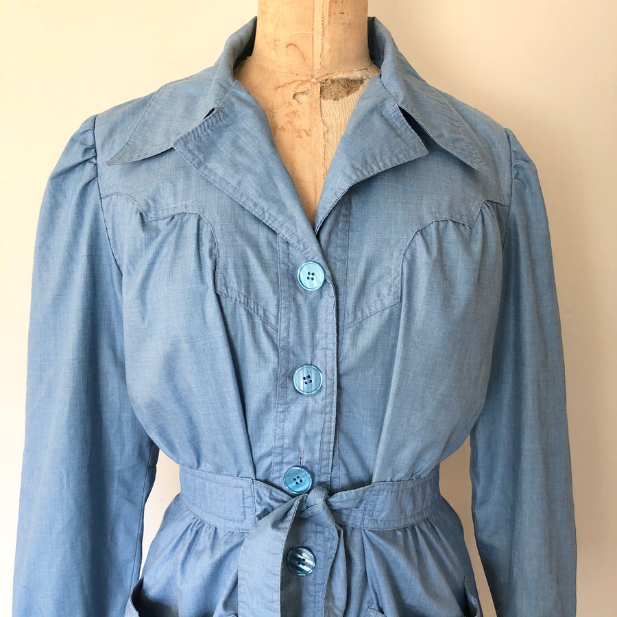 1970's Blue Chambray Blazer Jacket - Size M