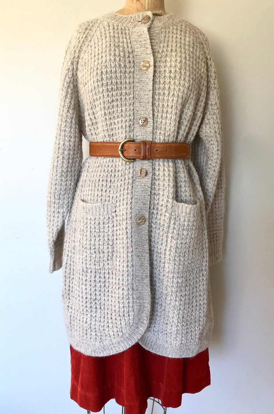 70's Long Knit Cardigan Sweater - Size M/L/XL