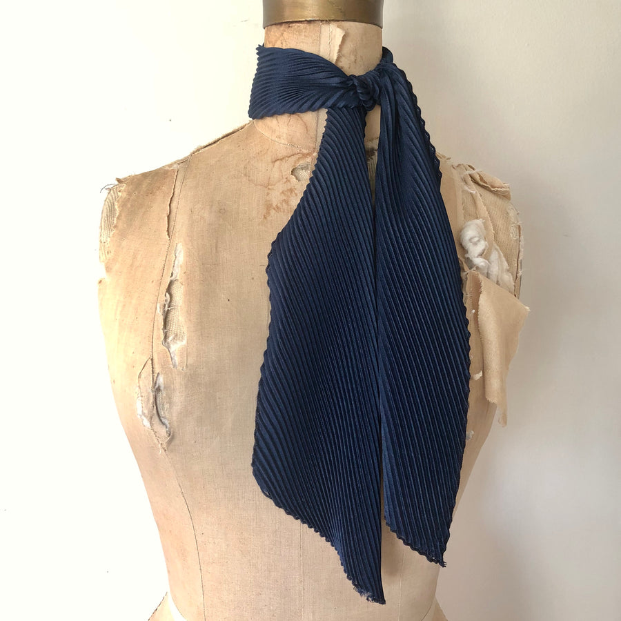Navy Blue Pleated Neck Scarf