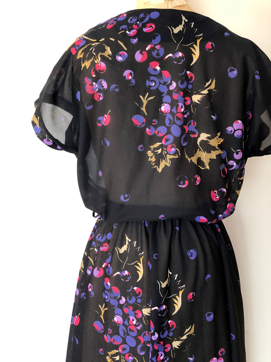 1970's Grape Print Black Dress - Size M