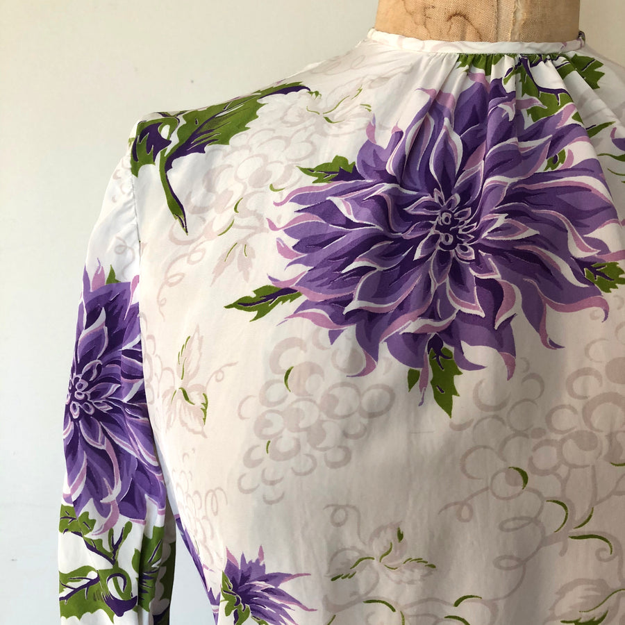 1940's Floral & Grape Print Rayon Blouse - Size S/M