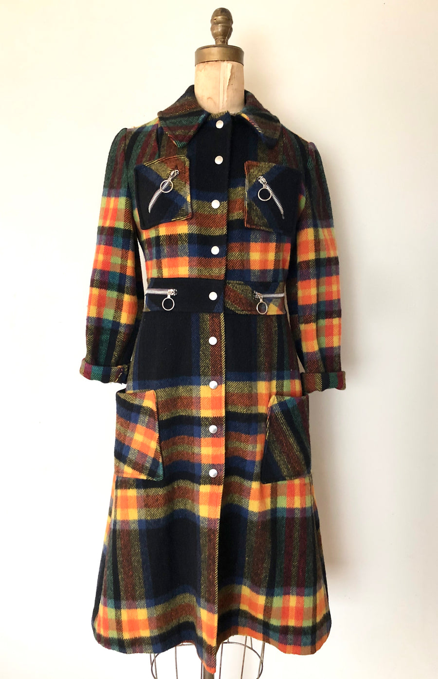 1970's Plaid Zipper Wool Coat - Size Small