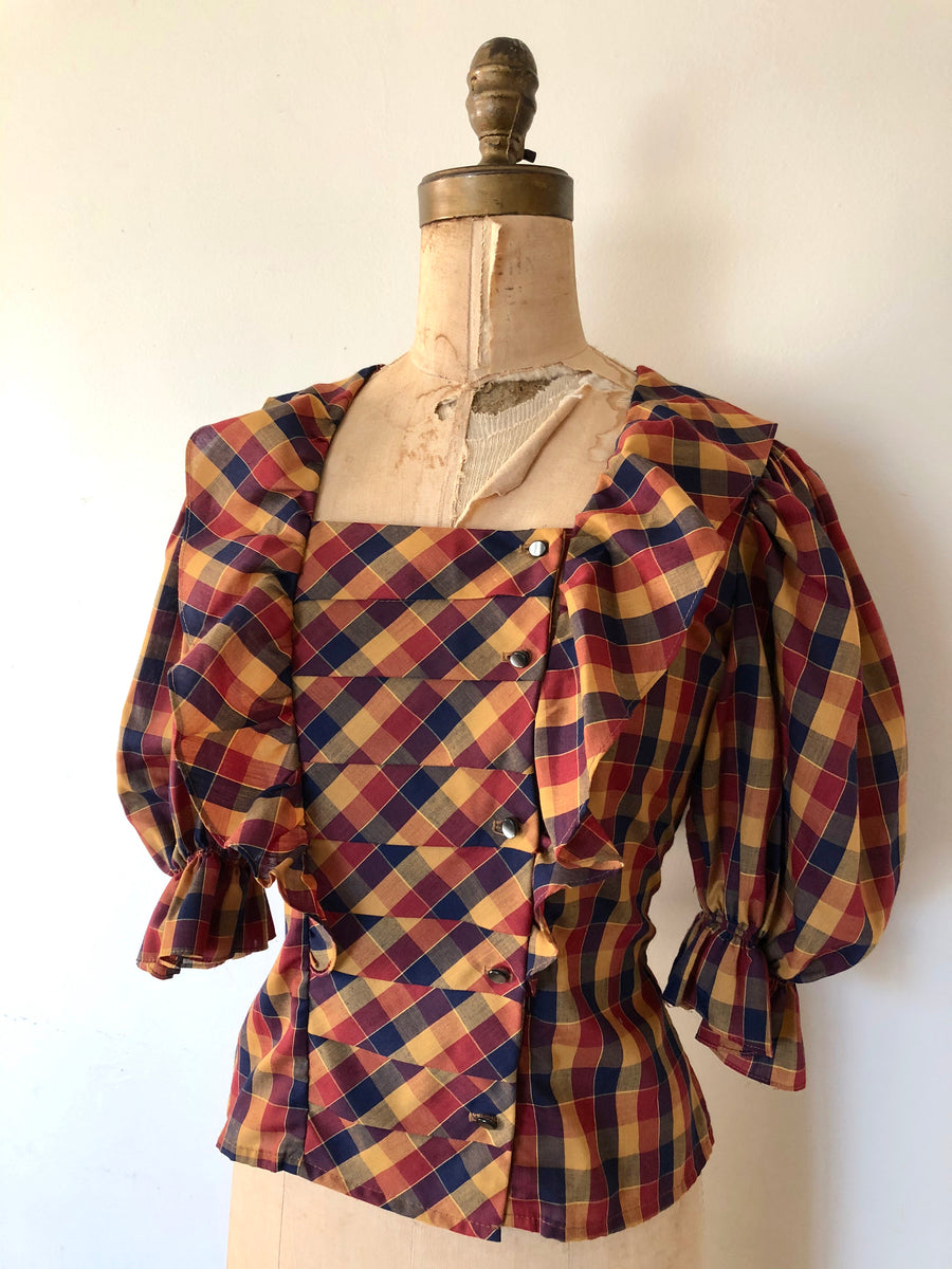 80's Puff Sleeve Plaid Blouse - Size M
