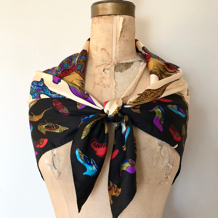 Vintage Silk Novelty Print Large Scarf