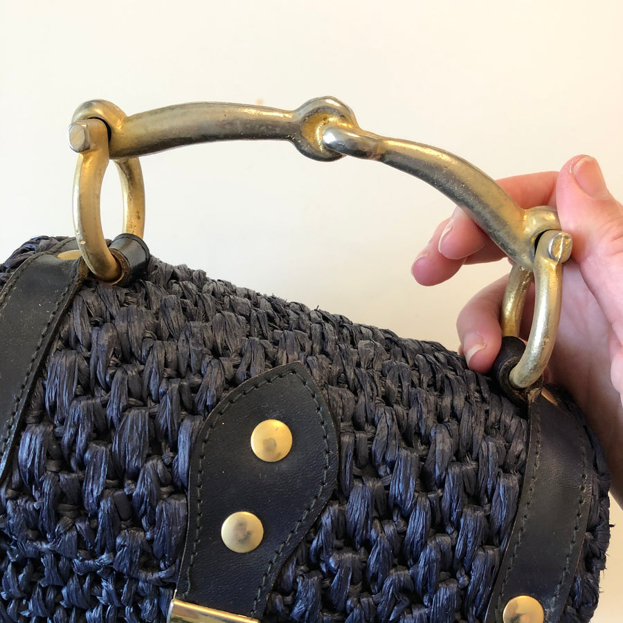 60's Blue & Gold Raffia Box Purse