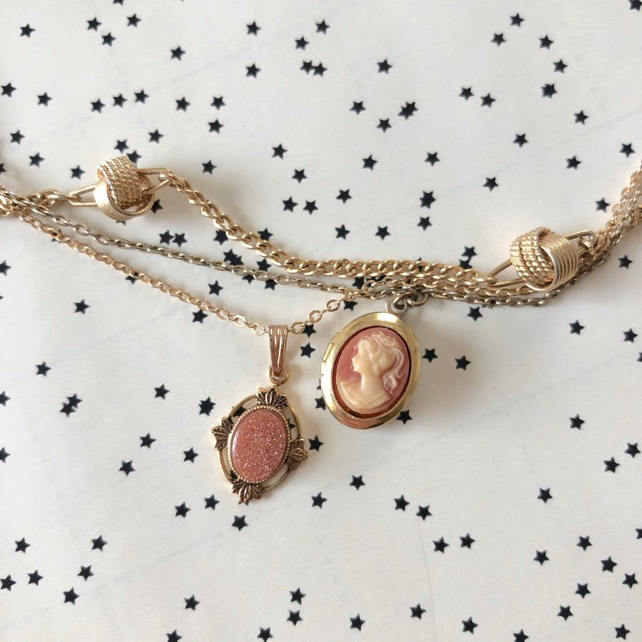 Gold Tone Layered Trio of Necklaces - Cameo Locket