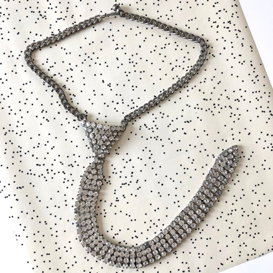 Rhinestone Tie Necklace