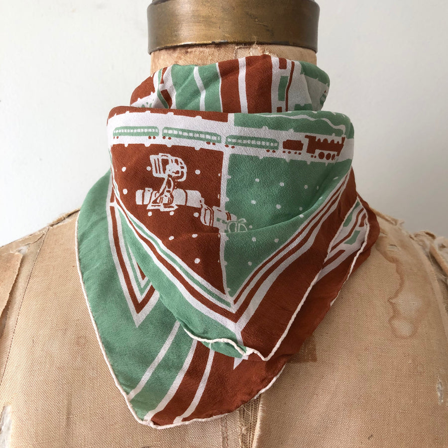 40's Deco Train Print Silk Scarf