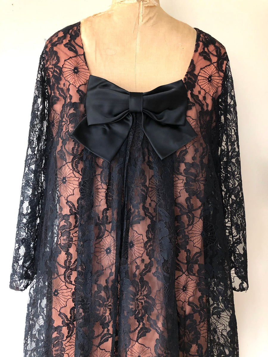 1960's Black Lace Bow Dress - Size M/L