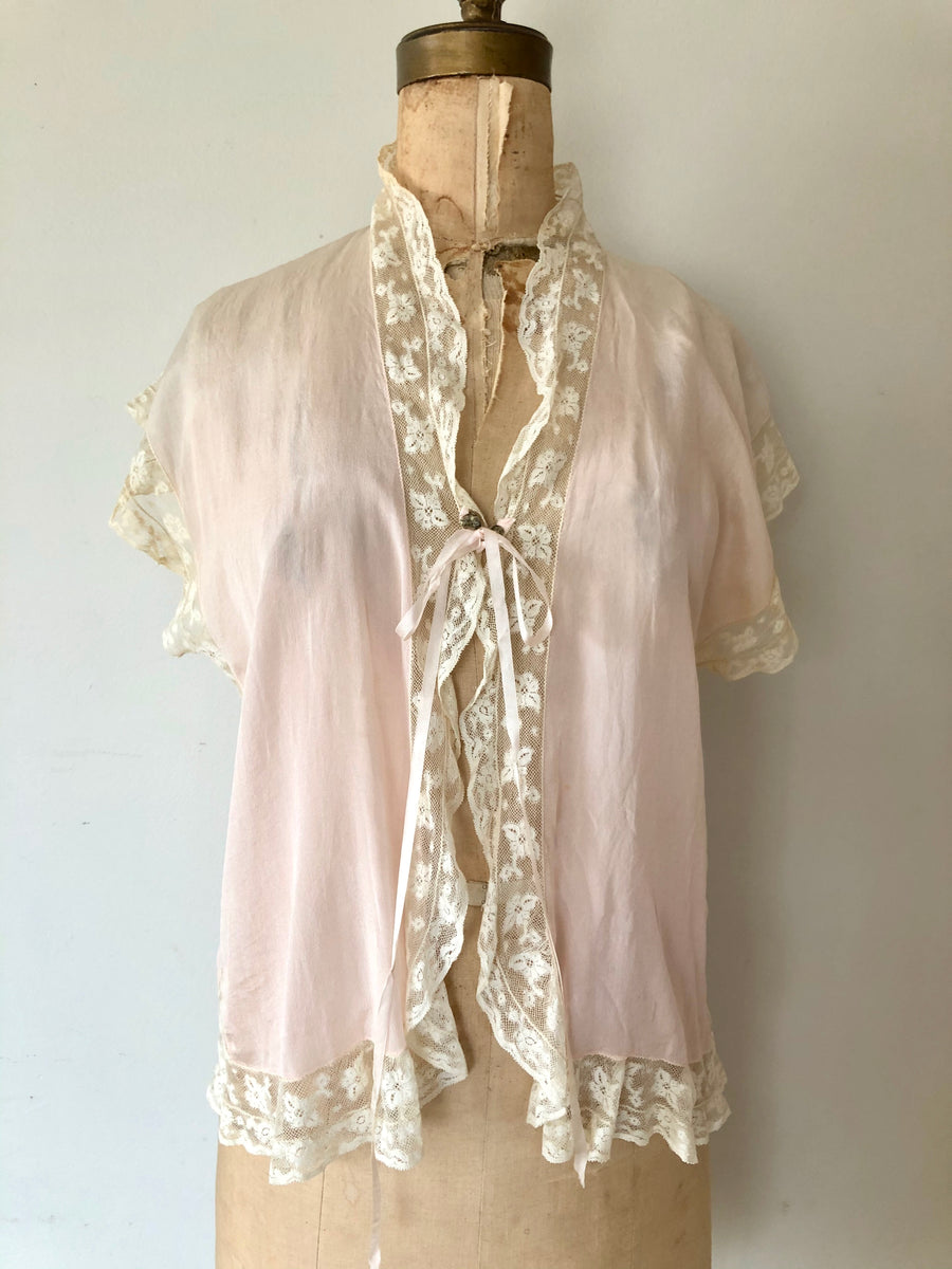 1930's Pale Pink Silk Bed Jacket - Size S/M/L