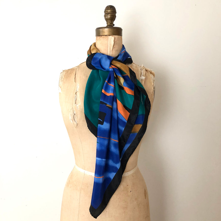 Large Vintage Abstract Silk Scarf