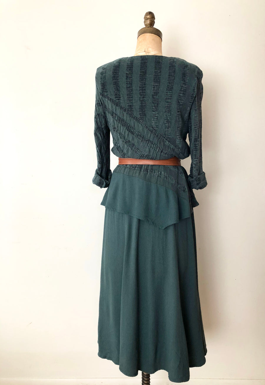 ON HOLD - 80's Green Peplum Rayon Dress - Size M