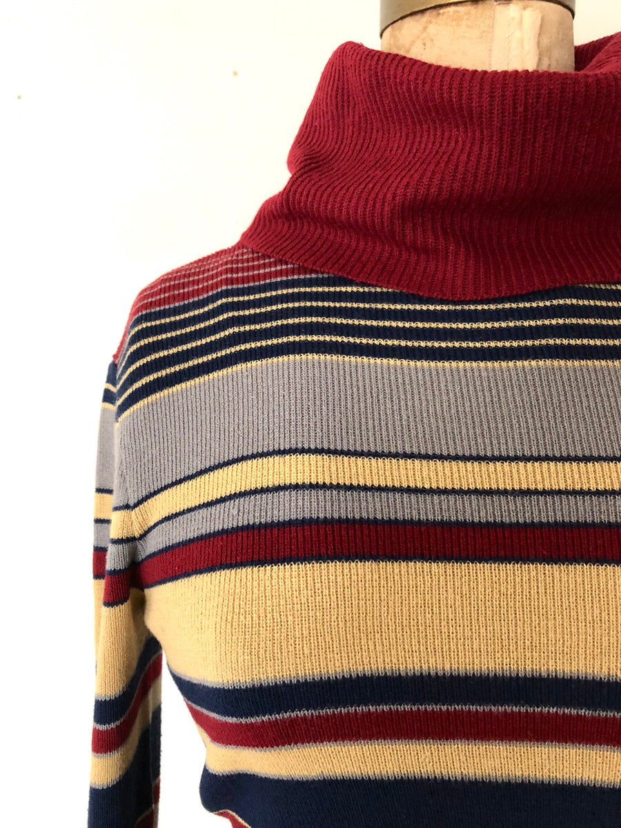 1970's Striped Turtleneck Sweater - Size M