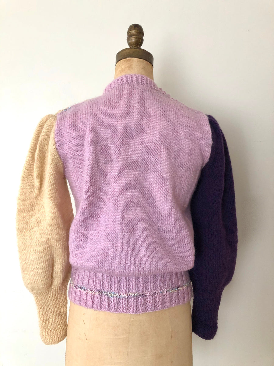 ON HOLD - 80's Colorblock Puff Sleeve Sweater - Size M