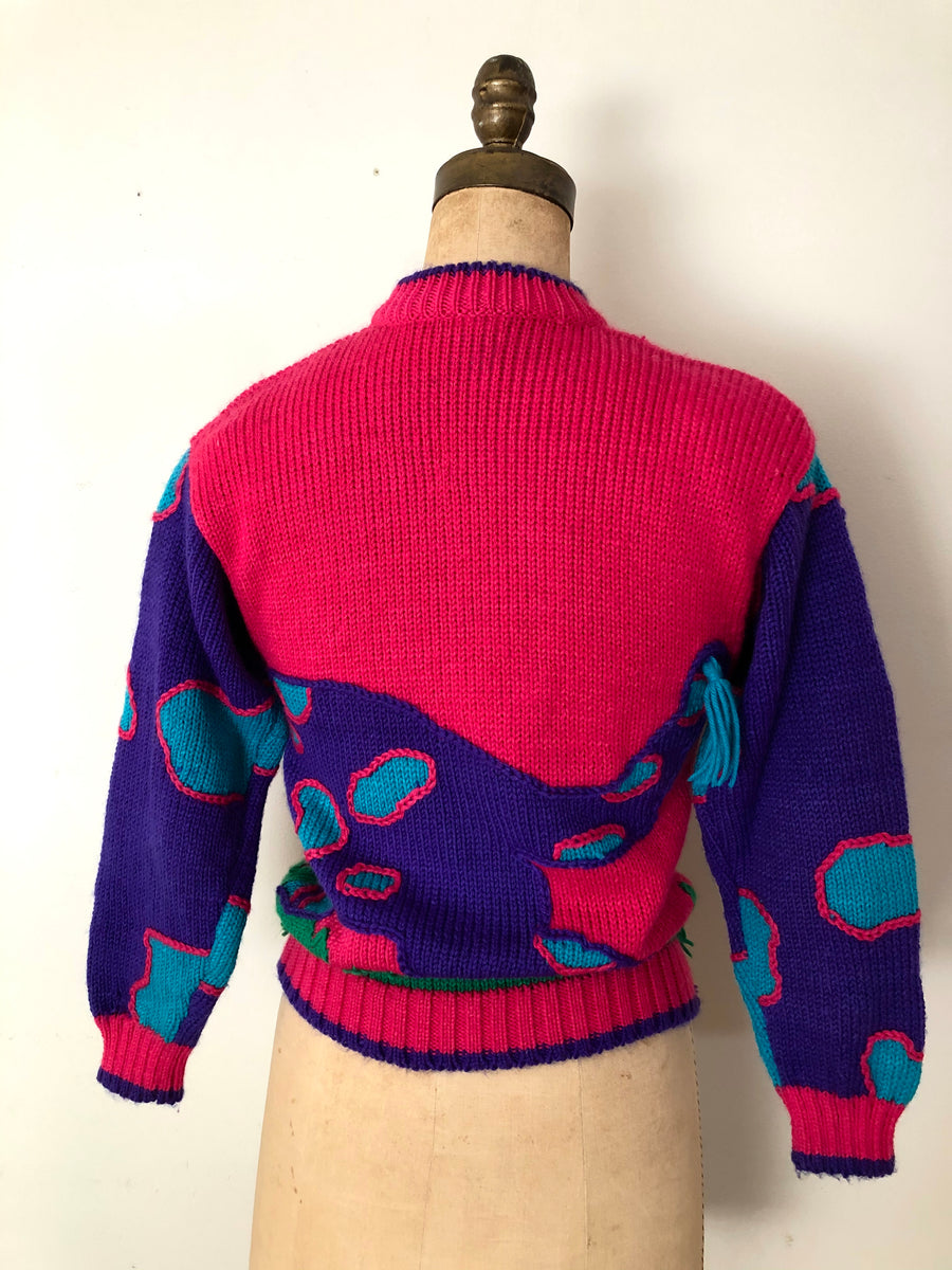 Vintage Knit Cat Sweater - Size XS/S