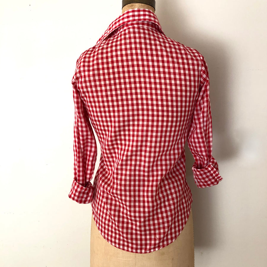 1970's Red Gingham Blouse - Size Small