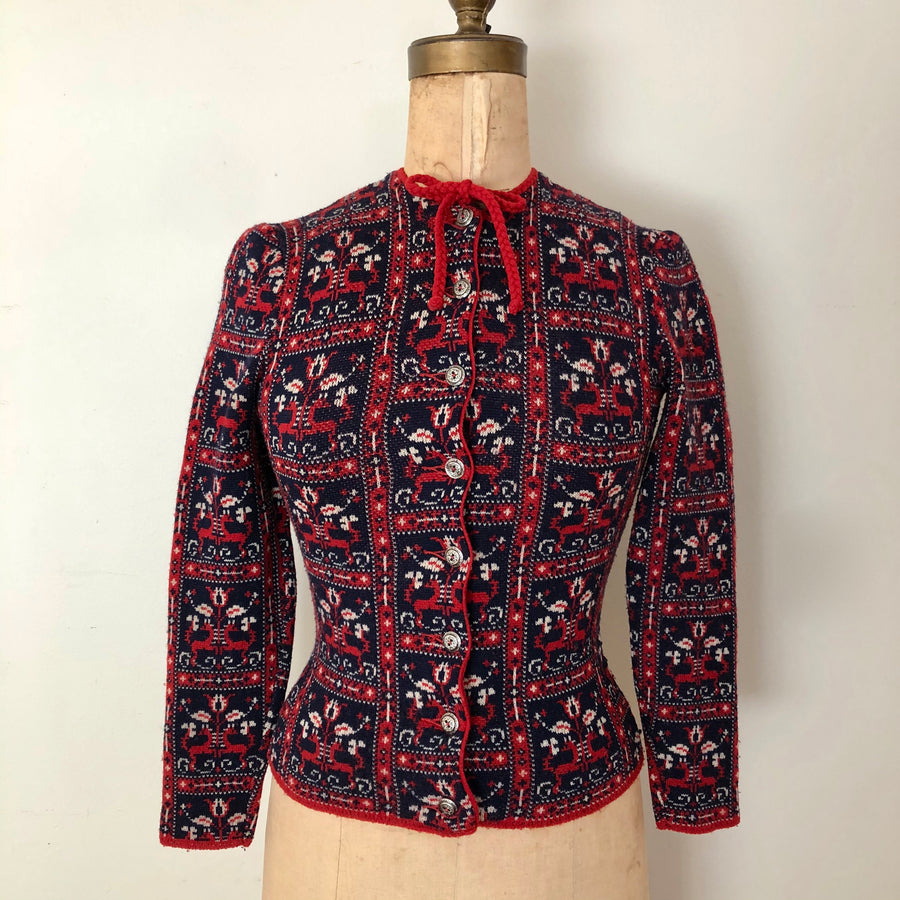 1940's Catalina Deer Print Cardigan Sweater - As Is - Size XXS/XS