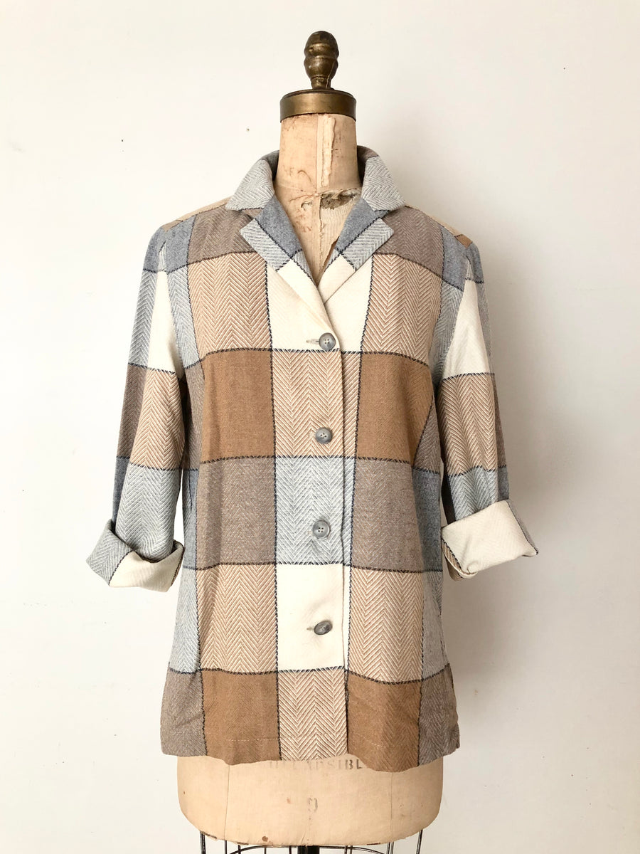 80's Plaid Wool Jacket - Size M